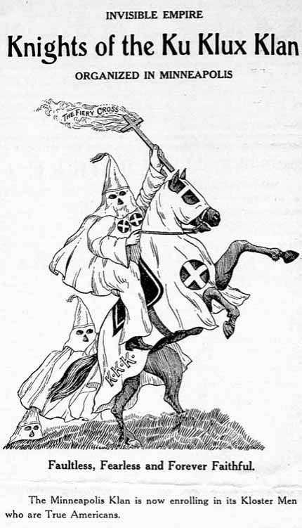 An advertisment for the KKK, a cartoon showing a klan member in hood atop a horse with a lit torch.
