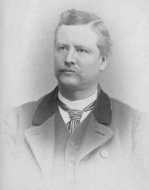 Mayor of Minneapolis in 1890, Albert Ames is shown from the chest up in a black and white photo.