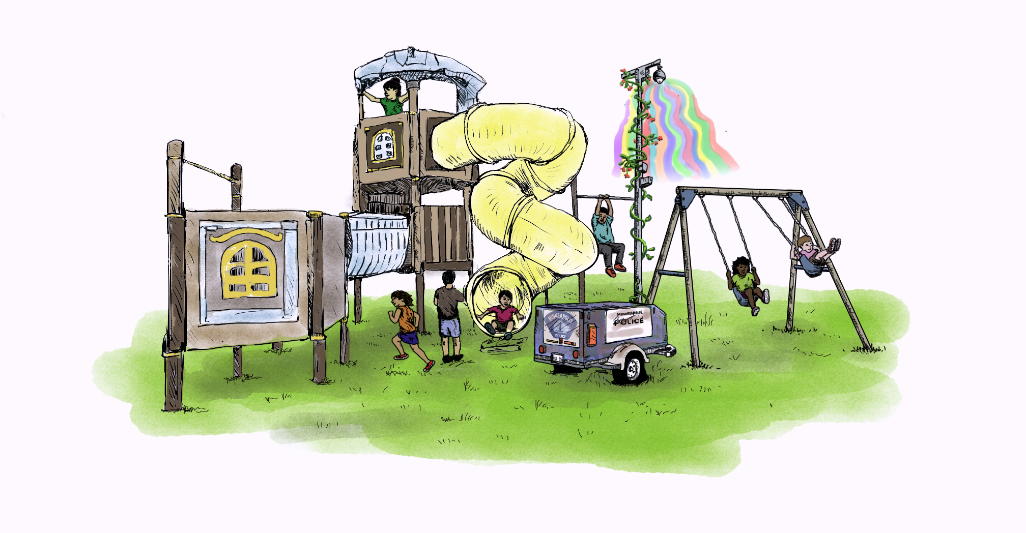 A drawing featuring children playing on a playground built around the MPD street cameras. It has light, bright colors.