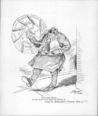 Black and White cartoon of a headless superintendent of Minneapolis police patroling and swinging his baton.