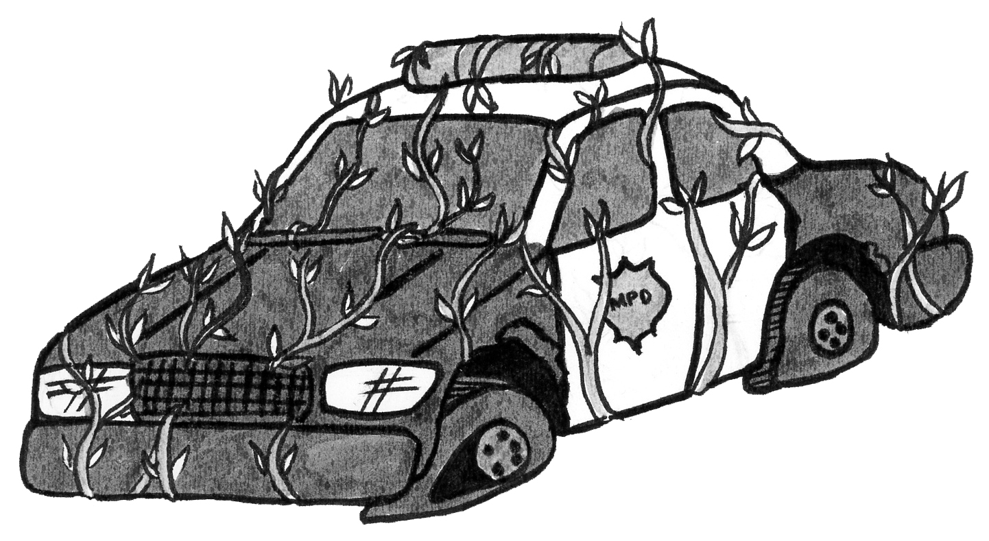 A black and white illustration of an MPD squad car. It has flat tires and vines growing all over it.